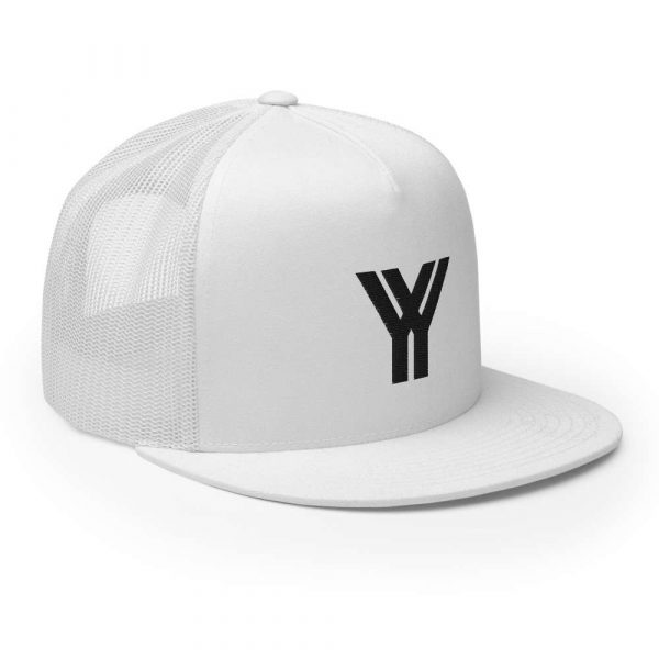 trucker cap snapback cap white logo black high profile flat bill side view right