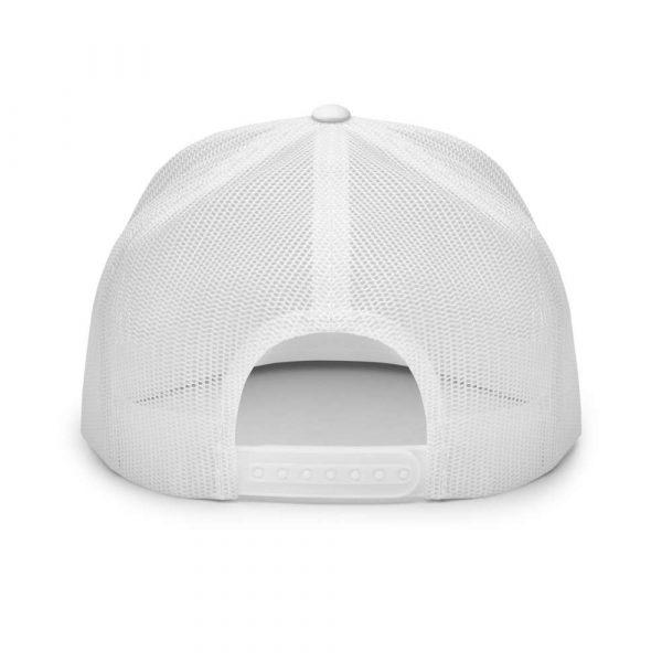 trucker cap snapback cap white logo white high profile flat bill back view