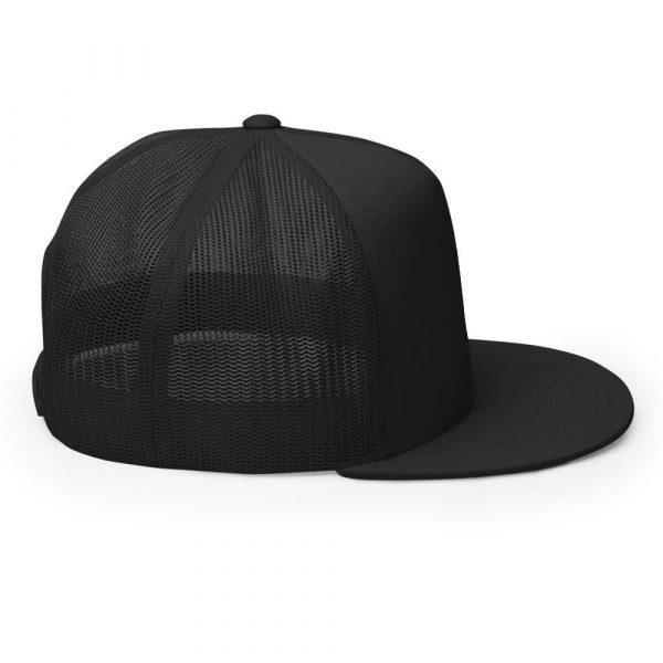 trucker cap snapback cap black logo black high profile flat bill side view r