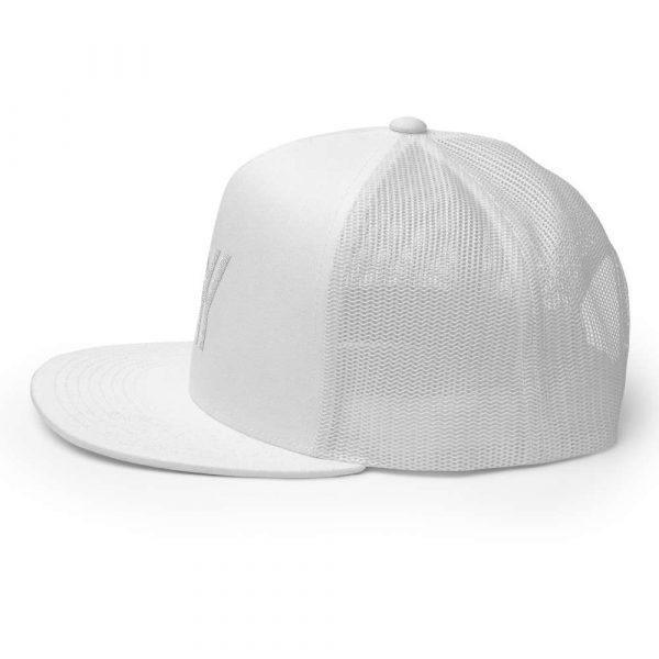 trucker cap snapback cap white logo white high profile flat bill side view left
