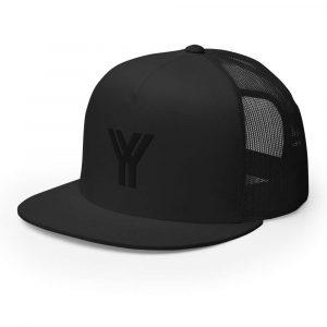 trucker cap snapback cap black logo black high profile flat bill side view