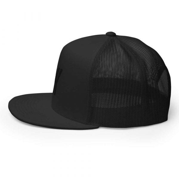 trucker cap snapback cap black logo black high profile flat bill side view l