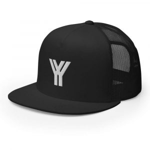 trucker cap snapback cap black logo white high profile flat bill side view
