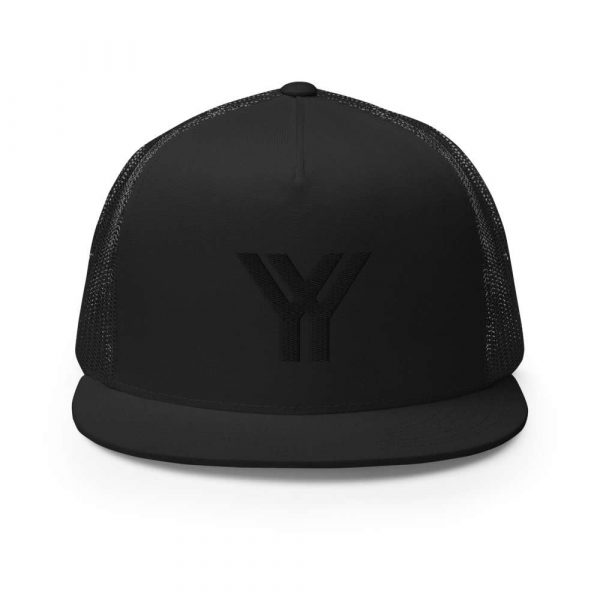 trucker cap snapback cap black logo black high profile flat bill front view