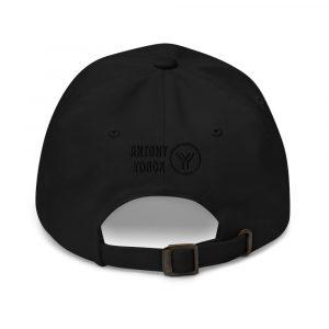 dad cap strapback cap black yy black low profile curved visor back view