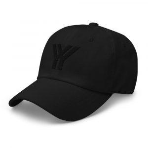 dad cap strapback cap black yy black low profile curved visor side view left