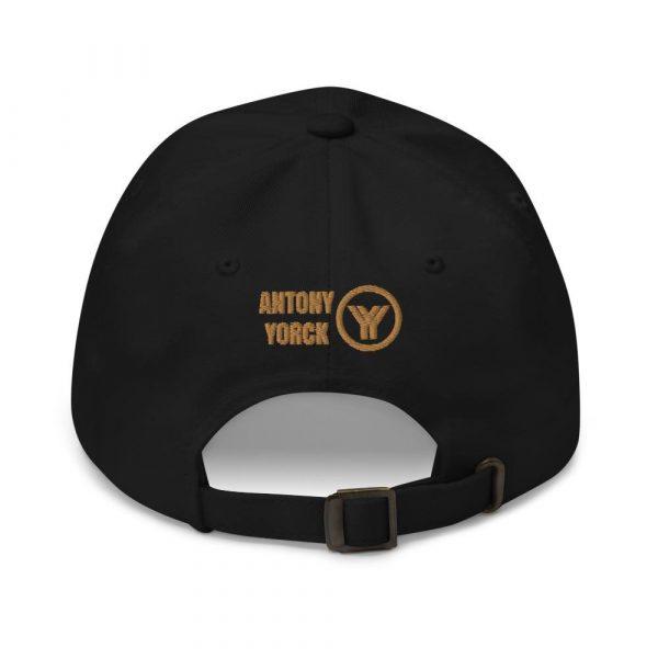 dad cap strapback cap black yy old gold low profile curved visor back view