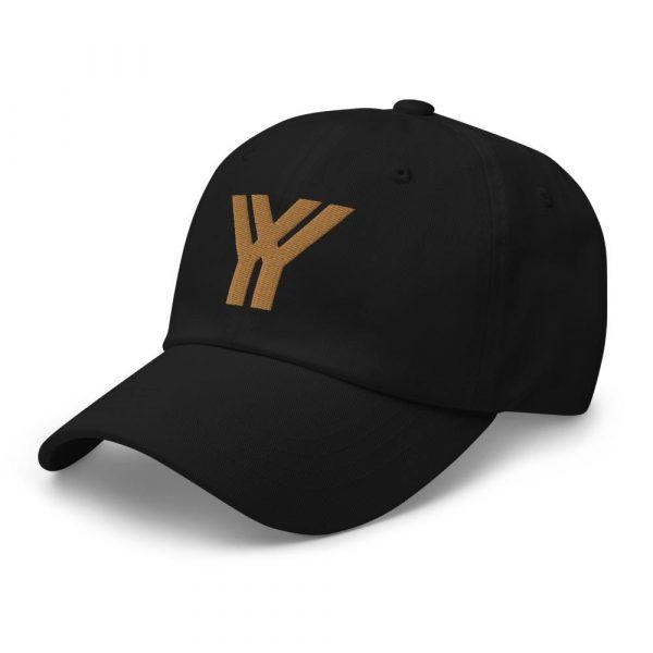 dad cap strapback cap black yy old gold low profile curved visor side view left
