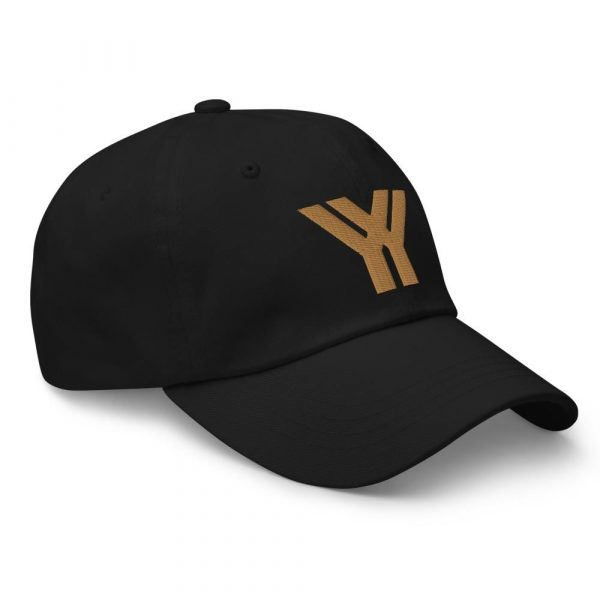 dad cap strapback cap black yy old gold low profile curved visor side view right