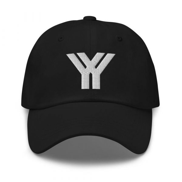 dad cap strapback cap black yy white low profile curved visor front view
