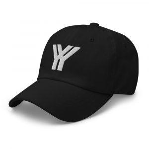 dad cap strapback cap black yy white low profile curved visor side view left