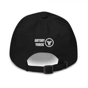 dad cap strapback cap black yy white low profile curved visor back view