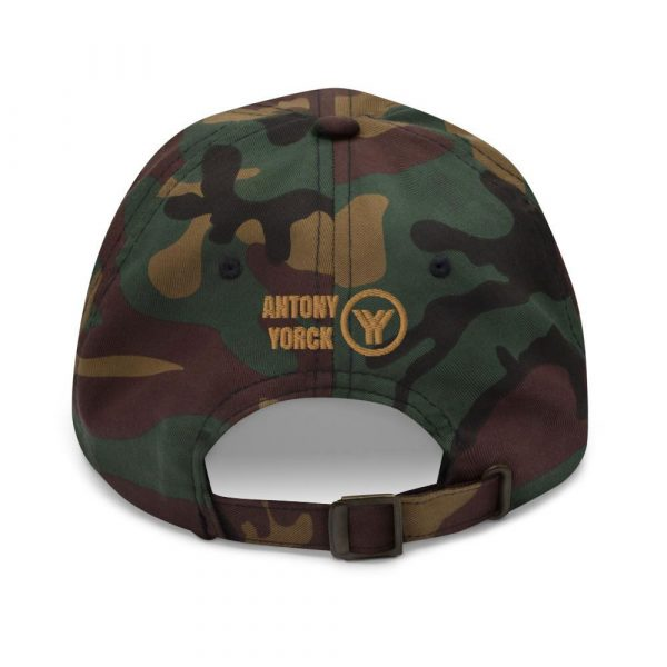 dad cap strapback cap camouflage yy old gold low profile curved visor back view