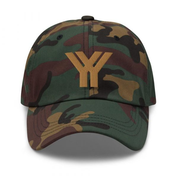 dad cap strapback cap camouflage yy old gold low profile curved visor front view