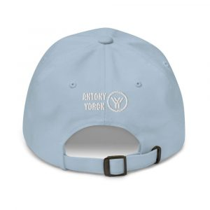 dad cap strapback cap blue yy white low profile curved visor back view