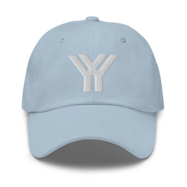 dad cap strapback cap blue yy white low profile curved visor front view