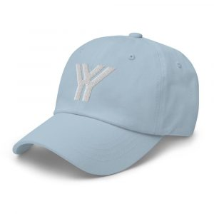 dad cap strapback cap blue yy white low profile curved visor side view left