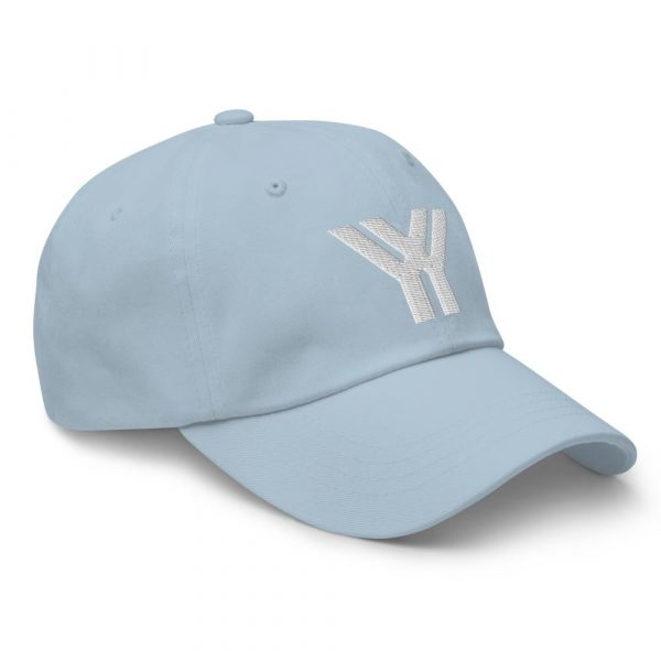 dad cap strapback cap blue yy white low profile curved visor side view right