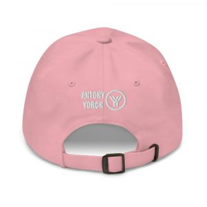 dad cap strapback cap pink yy white low profile curved visor back view