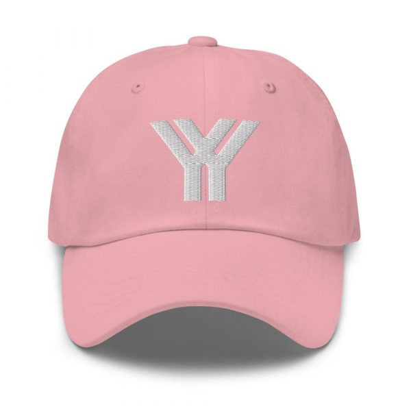 dad cap strapback cap pink yy white low profile curved visor front view