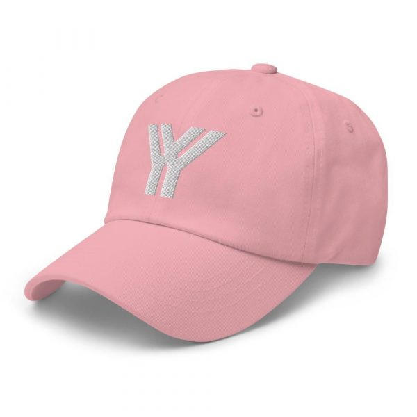 dad cap strapback cap pink yy white low profile curved visor side view left