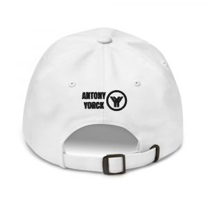 dad cap strapback white yy black low profile curved visor back view