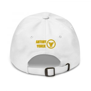 dad cap strapback cap white yy gold low profile curved visor back view