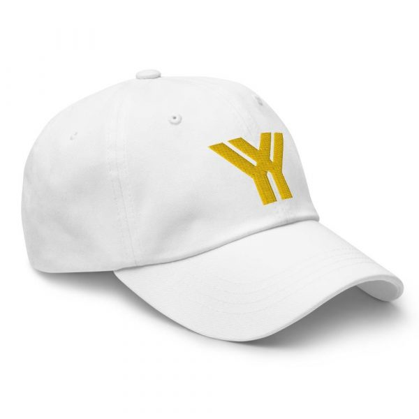 dad cap strapback cap white yy gold low profile curved visor side view right