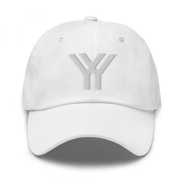 dad cap strapback cap white yy white low profile curved visor front view