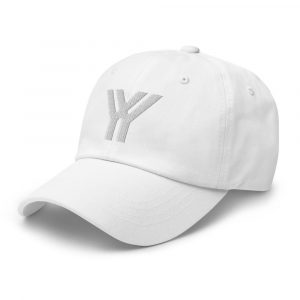 dad cap strapback cap white yy white low profile curved visor side view