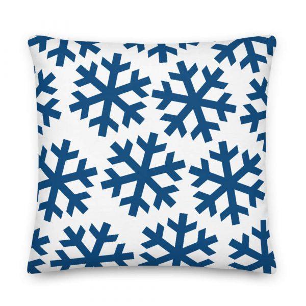 Premium Kissen Schneeflocke blau auf weiß 6 mockup 074ccb4c