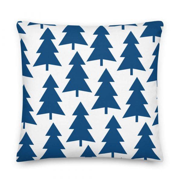 Premium Kissen Tannenbaum blau auf weiß 6 mockup 0a01d42d