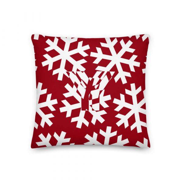 Sofakissen Schneeflocke weiß auf rot 1 mockup 1aa39d5f