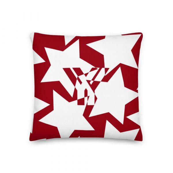 Sofakissen Sterne weiß auf rot 1 mockup 1f71b780