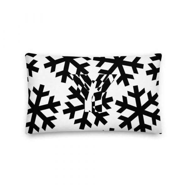 Sofakissen Schneeflocke schwarz auf weiß 3 mockup 21e0da5f