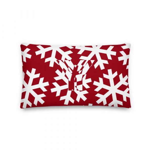 Sofakissen Schneeflocke weiß auf rot 3 mockup 2be3639e