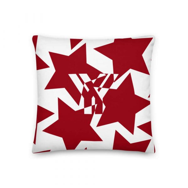 Sofakissen Sterne rot auf weiß 1 mockup 2e962425