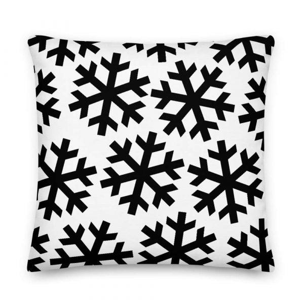 Sofakissen Schneeflocke schwarz auf weiß 6 mockup 370461b4