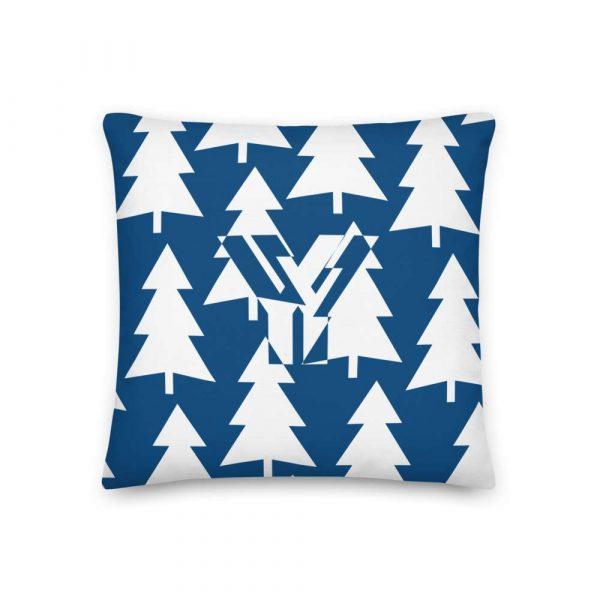 Premium Kissen Tannenbaum weiß auf blau 1 mockup 38f08a53