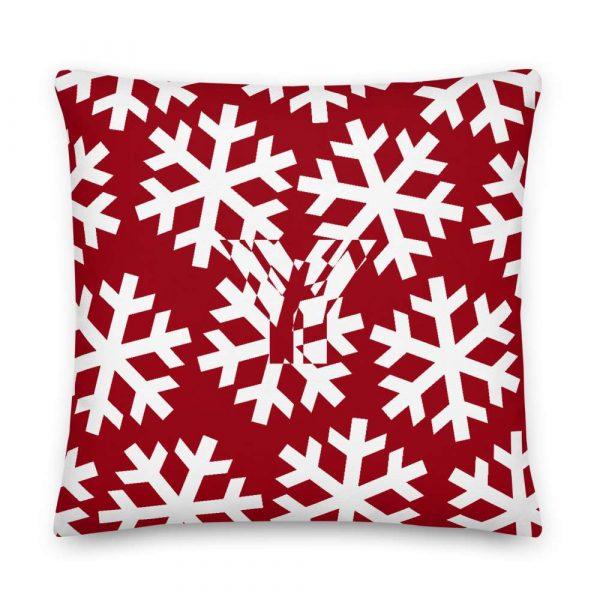 Sofakissen Schneeflocke weiß auf rot 5 mockup 3f47cde5