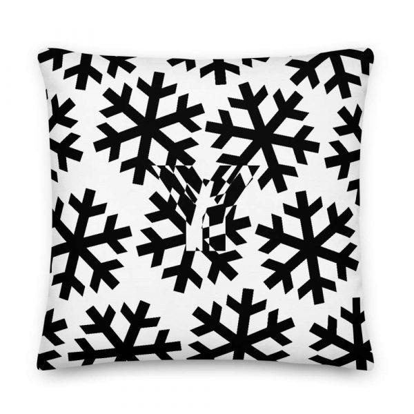Sofakissen Schneeflocke schwarz auf weiß 5 mockup 4aeaa55b
