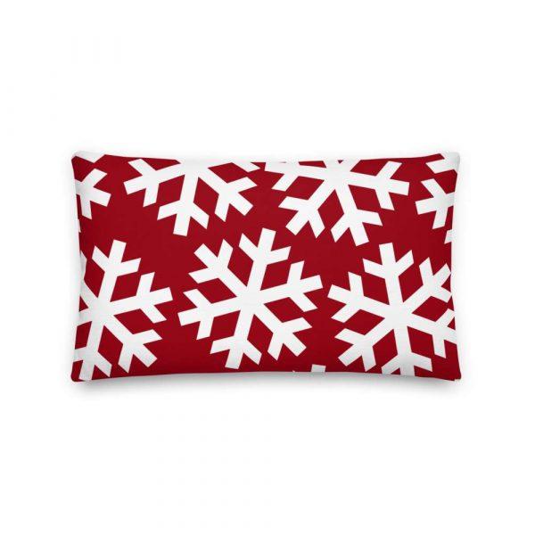 Sofakissen Schneeflocke weiß auf rot 4 mockup 4f405651