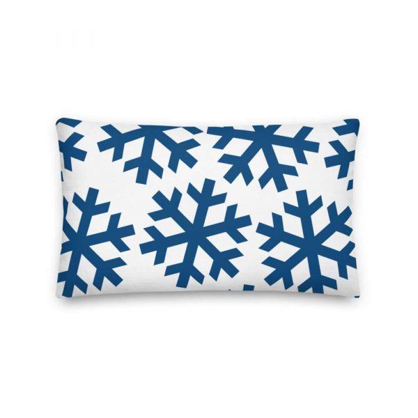 Premium Kissen Schneeflocke blau auf weiß 4 mockup 593a4bfa