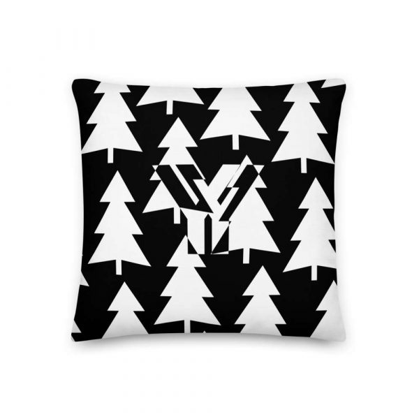 Premium Kissen Tannenbaum weiß auf schwarz 1 mockup 6999b4da