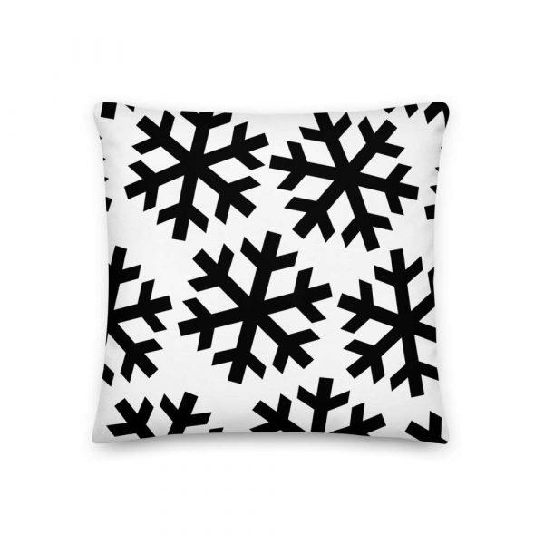 Sofakissen Schneeflocke schwarz auf weiß 2 mockup 6a5dedab