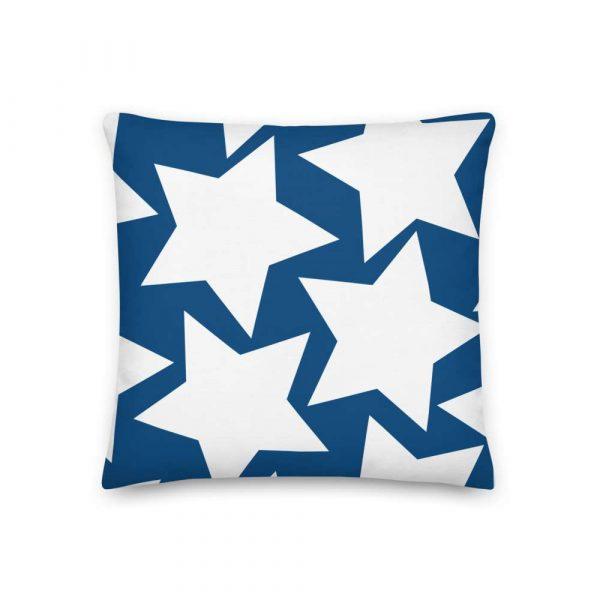 Sofakissen Sterne weiß auf blau Premiumqualität 2 mockup 6c78450f