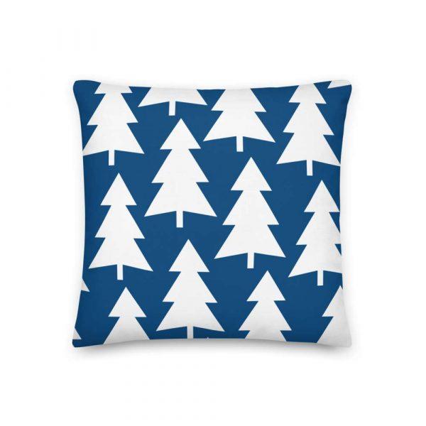 Premium Kissen Tannenbaum weiß auf blau 2 mockup 7d77868f