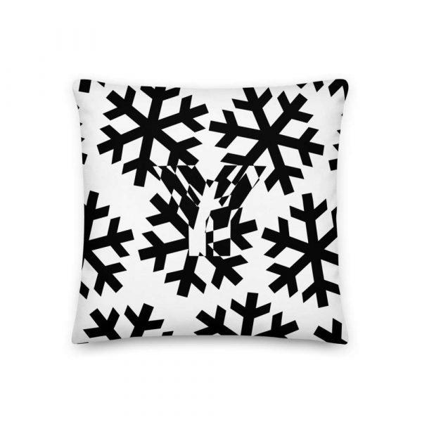 Sofakissen Schneeflocke schwarz auf weiß 1 mockup a5369bfb