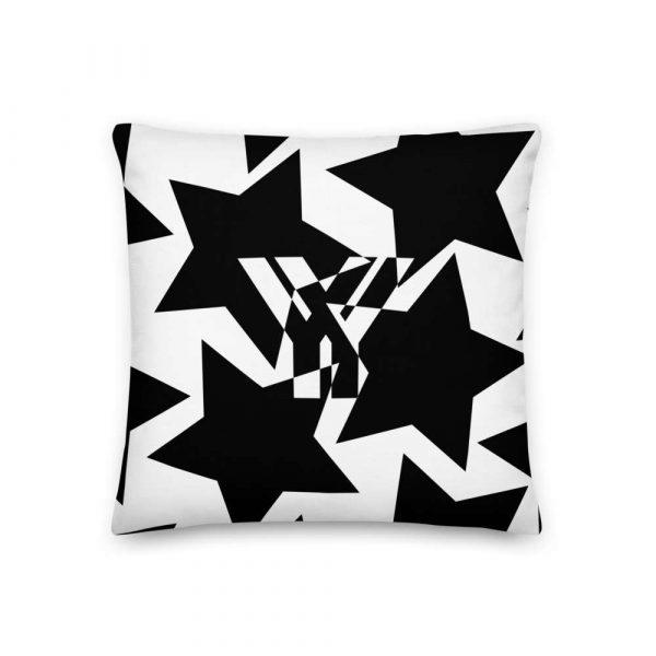 Sofakissen Sterne schwarz auf weiß 1 mockup b048a66c