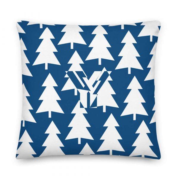 Premium Kissen Tannenbaum weiß auf blau 5 mockup c5d57929
